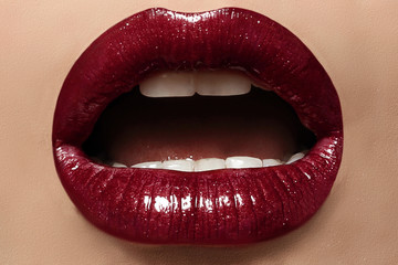 sexy female lips with perfect makeup