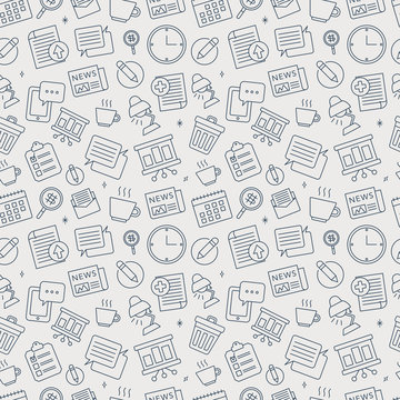 Office line icon pattern set