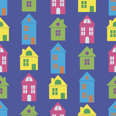 Seamless background with houses