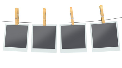 blank photos on clothesline, isolated white background