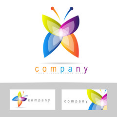 Colored butterfly icon logo
