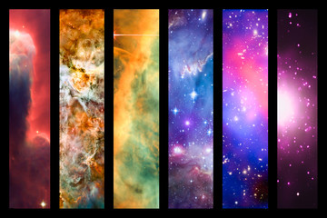 Space nebula and galaxy rainbow collage - provided by NASA