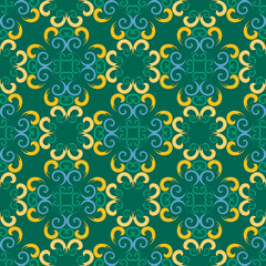 Abstract Colorful Damask Seamless Vector Background