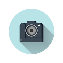 Photo or camera icon with long shadow.