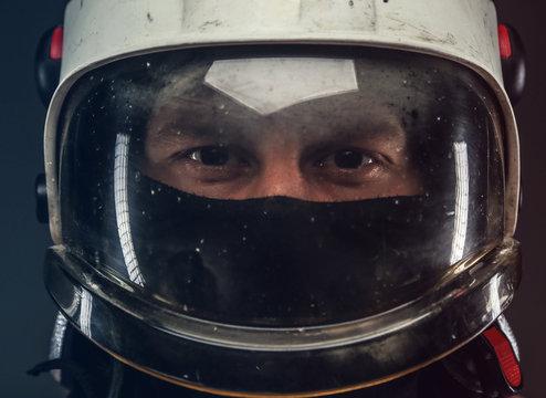 Male in firefighter helmet
