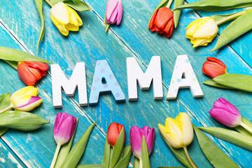 Wall Mural - Mama Postkarte Danke
