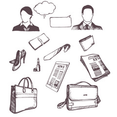 Set of hand drawn objects for business people. Vector.