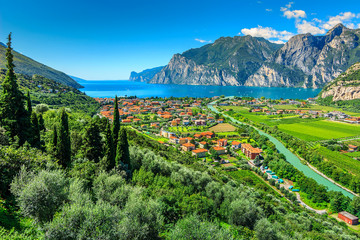 Wall Mural - Beautiful sunny day on Lake Garda,Torbole.Italy,Europe