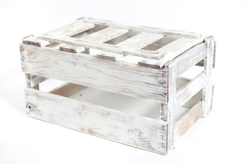 white vintage Wooden box isolated on a white background