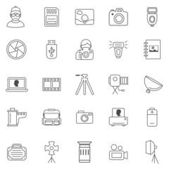 Photo line icons set.Vector