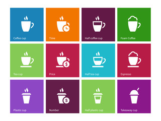 Set coffee cups icons on color background.