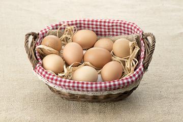 Egg Basket over Jute Background