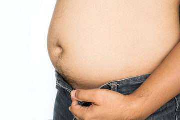 Fat man with big belly on white background