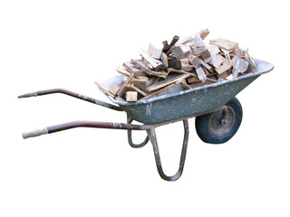 An old wheelbarrow full of firewood on isolated on white