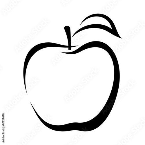 Contour Line Drawing Apple : Quot apple vector black contour stock image and royalty