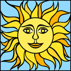 Illustration of sun with smiling face. Vector illustration.