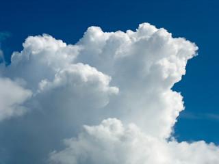 White cumulus cloud over dark blue sky