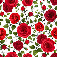 Seamless pattern with red roses. Vector illustration.