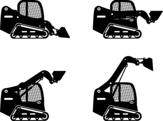 Skid steer loaders. Heavy construction machines. Vector