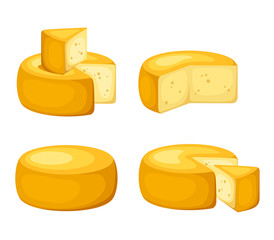 Vector set of cheese wheels isolated on a white background.