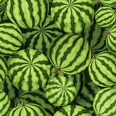 Seamless background with green watermelons. Vector