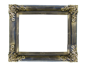 Vintage antique gold picture frame over white