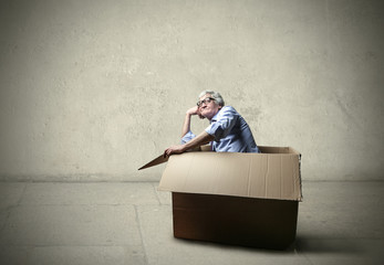 Businessman inside the box
