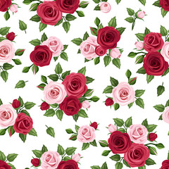 Seamless pattern with red and pink roses on white. Vector.