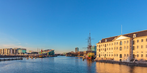 Panoramic view of historic buildings in Amsterdam