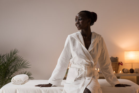 Woman sitting at beauty spa salon