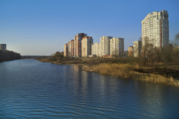 New residential district on the banks of the Pekhorka river. City of Balashikha, Moscow region, Russia.