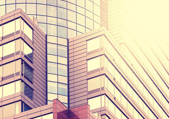 Modern office building background, vintage colors style.