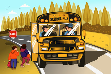 School bus driver and kids