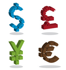 Text in monetary symbol shape 3D