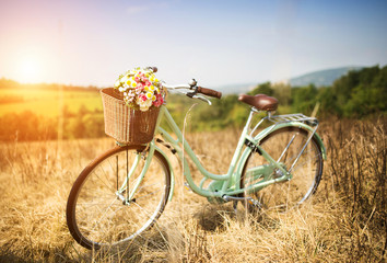 Photo sur Toile Velo Vintage bicycle with basket full of flowers standing in field