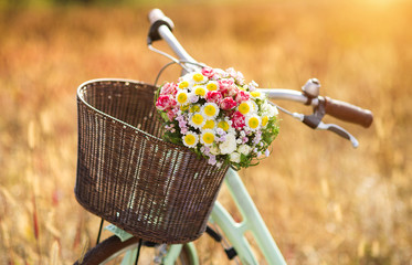 Printed roller blinds Bicycle Vintage bicycle with basket full of flowers standing in field
