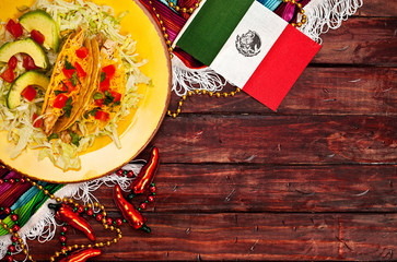 Background: Mexican Flag and Tacos to Celebrate Cinco De Mayo