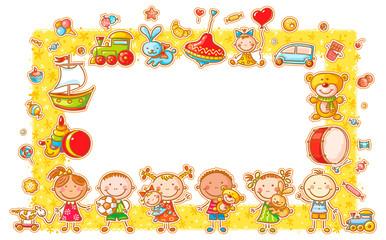 Wall Mural - Rectangular Frame with Cartoon Kids