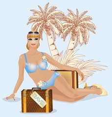 Summer travel beautiful  woman, vector illustration