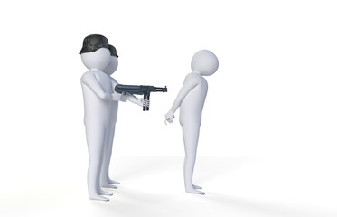 Figures with guns on white background