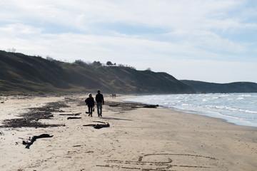 Coppia che passeggia in spiaggia in inverno