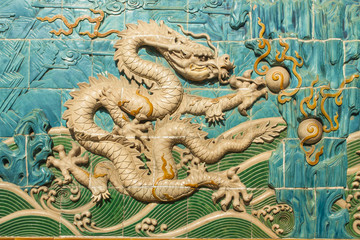 Traditional Chinese White Dragon Decorated Wall