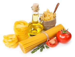 Italian cuisine. Pasta, a bottle of oil, tomatoes, spices
