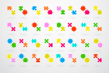 Jigsaw Puzzle Pieces Collection Set Vector