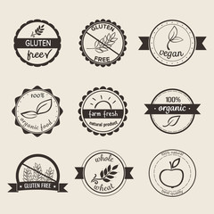 Set of nine simple style labels