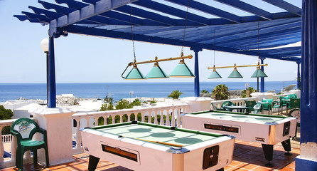 Mesas de billar en el Puerto del Carmen, Lanzarote
