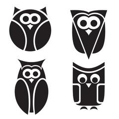 Stylized owls on white background.