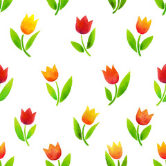 Watercolor tulips pattern.
