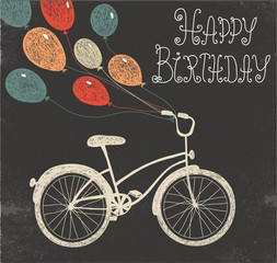 vector retro hand drawn blackboard birthday card