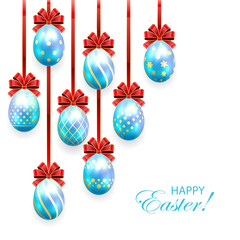 Blue Easter eggs with red bow